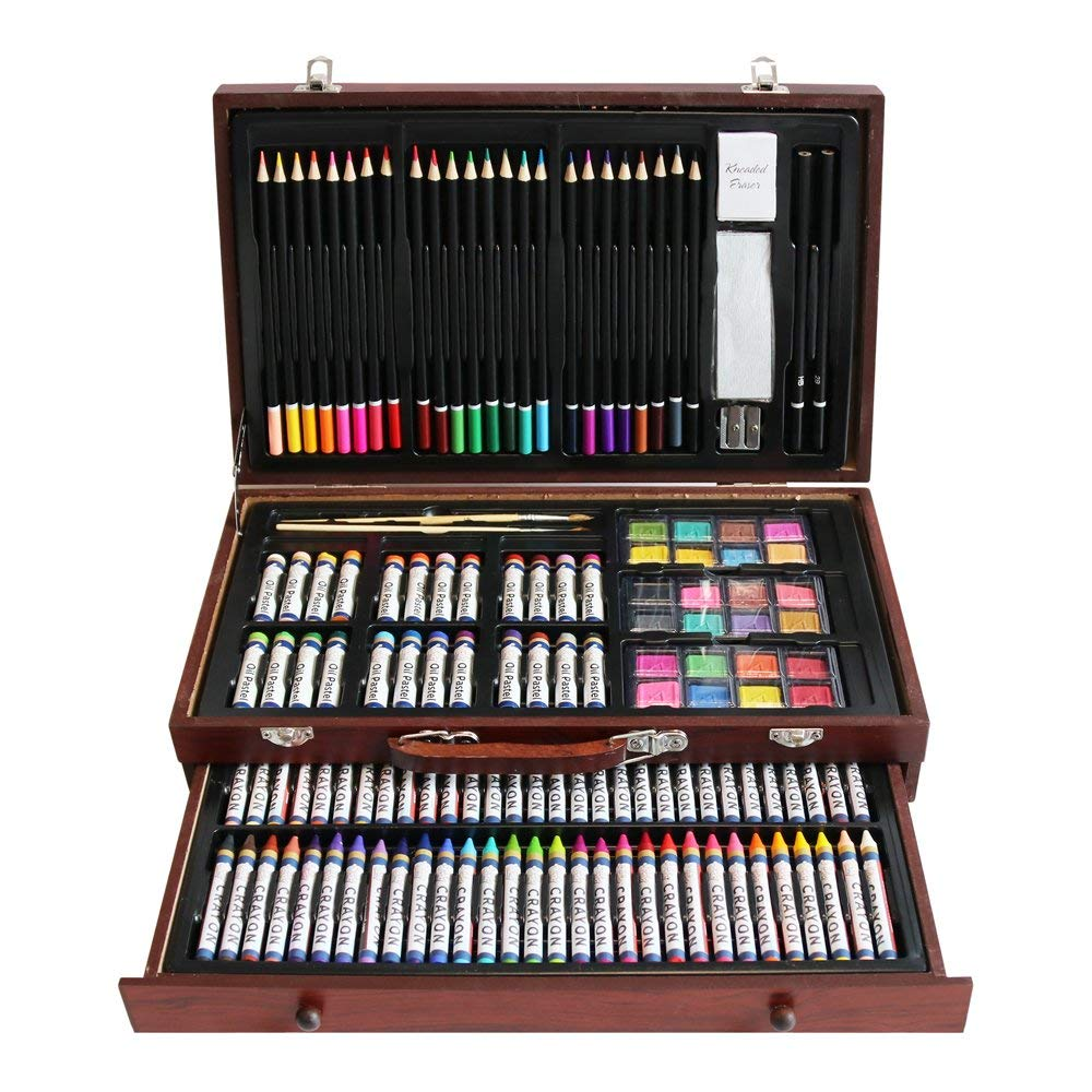 LUCKY CROWN 143-Piece Deluxe Art Set, Art Supplies for Painting and Drawing, Art Kit in Wood Box Includes Acrylic, Oil, Watercolor Paints, Oil Pastels, Color Pencils