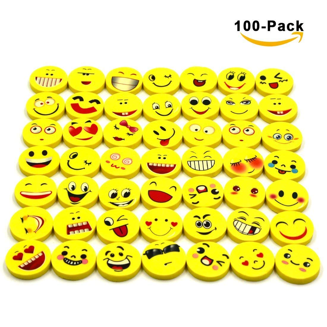 100 Pack Emoji Pencil Erasers 40 Emoticons Novelty Erasers for Party Favors School Classroom Prizes Rewards