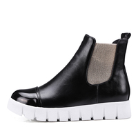2018 High quality women patent leather low wedge shoes lady ankle winter snow boot