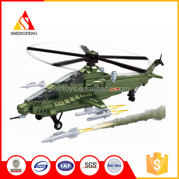 Factory supply children educational 3D toy army helicopter large building blocks