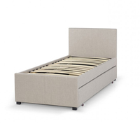 Saving Space Twin Size Faux Leather Upholstered Trundle Bed Frame Y