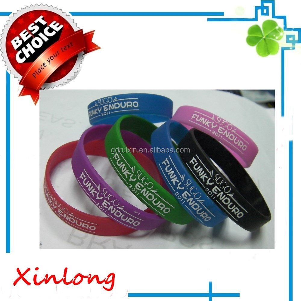 Embossed silicone wristabnd bracelet with color manufacturer,2016 promotional silicone bracelet