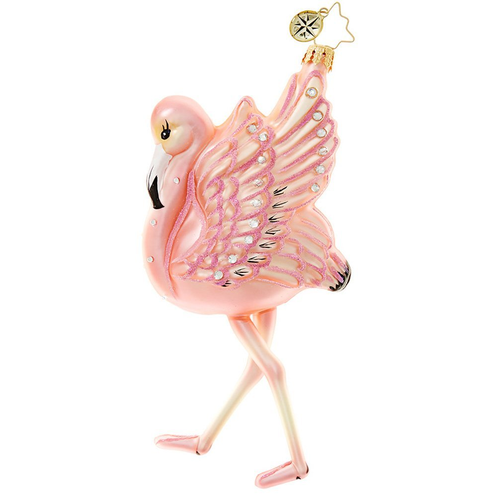 get quotations christopher radko flamingo flare christmas ornament