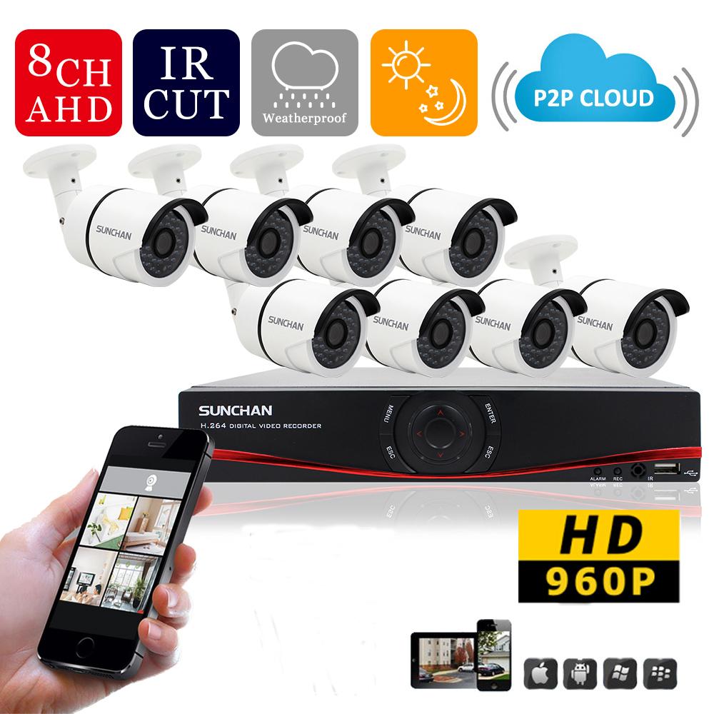SUNCHAN 8Channel AHD HD CCTV System AHD DVR Kit 8PCS HD 1.3MP 960P Outdoor Waterproof IR CCTV Home Video DIY 1300TVL AHD Kits