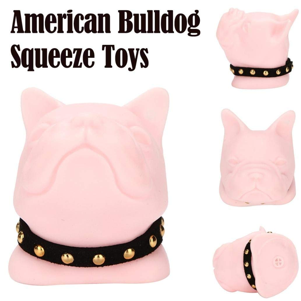 Squeeze Squishies Toy, Convinced 3 Pack Mini American Bulldog Squeeze Funny Toy Soft Stress Kids Toy Scented Stress Relief Toy (Pink)