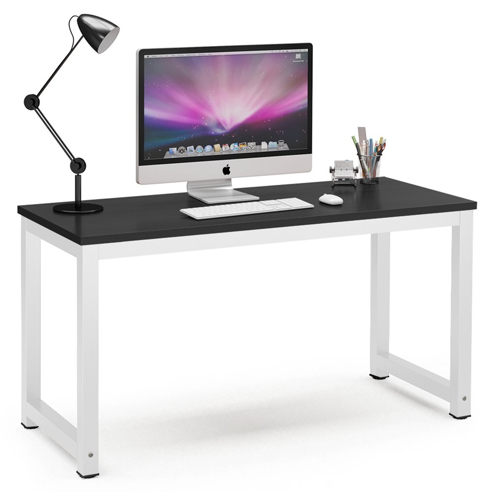 """Tribesigns Computer Desk, 55"""" Large Office Desk Computer Table Study Writing Desk for Home Office, Black + White Leg"""