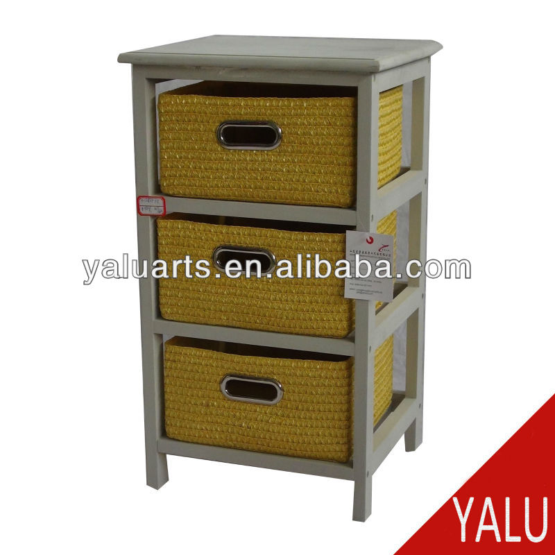 paulownia wood cabinet in wash grey color in KD with wheat straw drawers