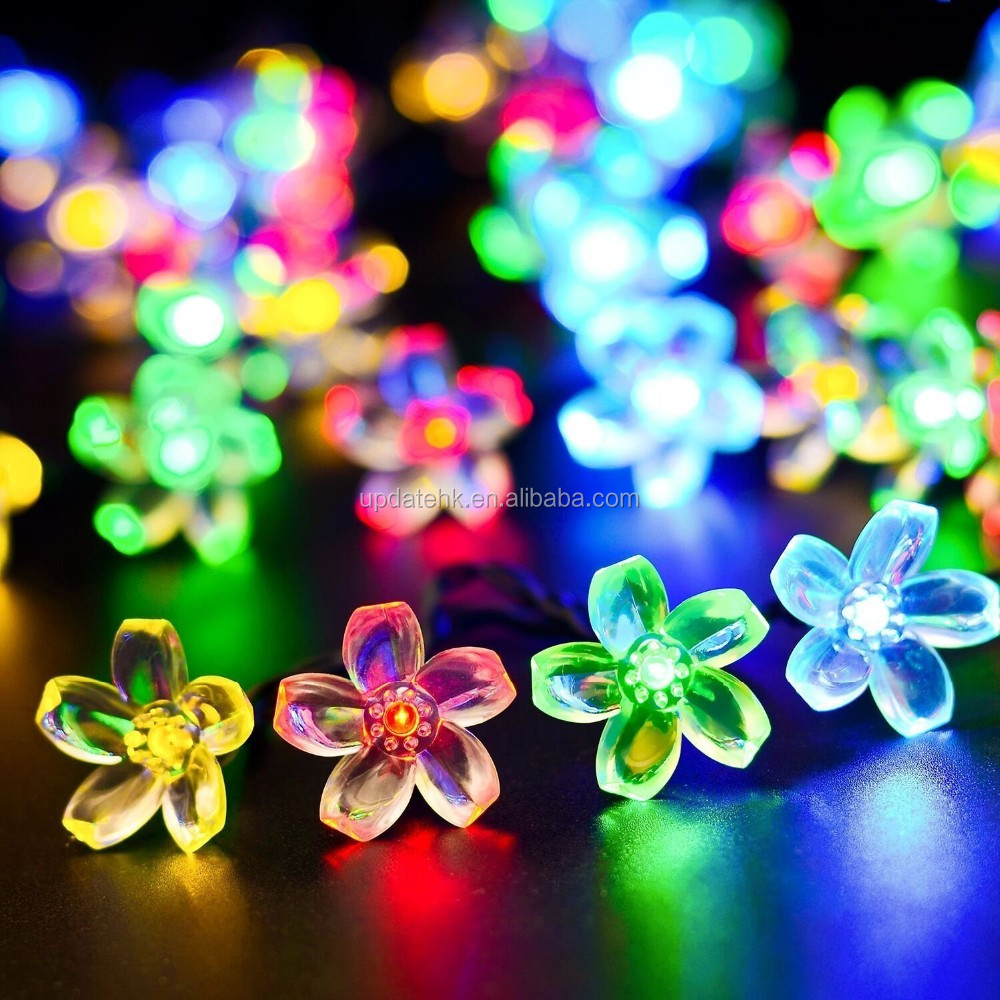 Solar Outdoor String Lights, 22ft 50 LED Flower Peach Blossom Fairy Lights