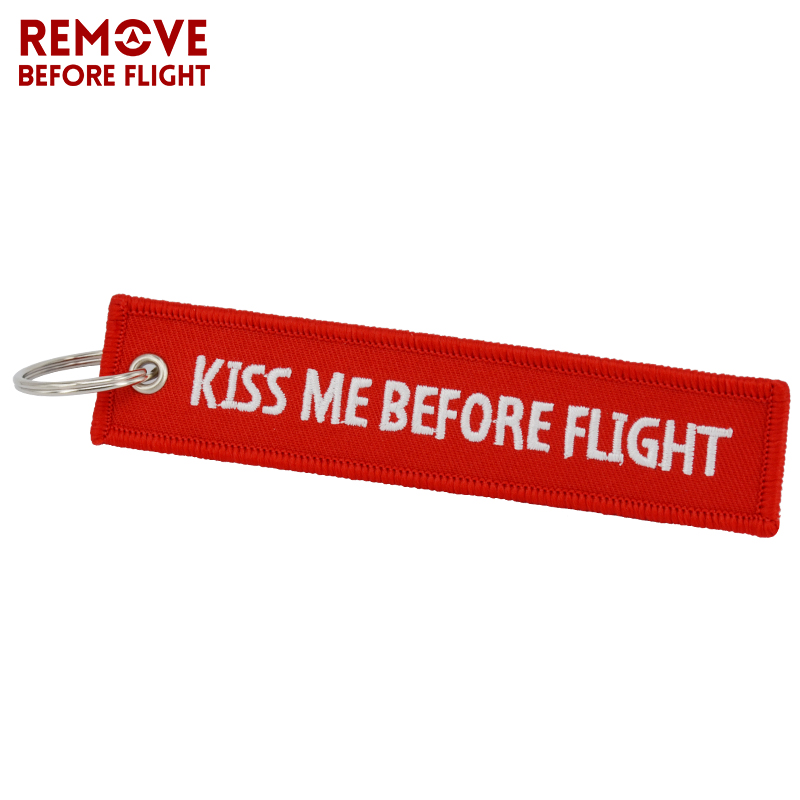 Kiss Me Before Flight embroidery keychain,Cheap Price