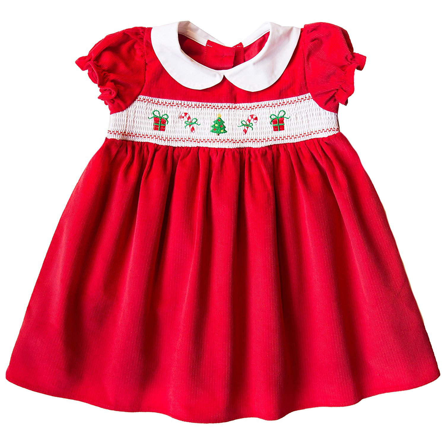 d7fbb006b13a Get Quotations · Good Lad Newborn Infant Girl Red Corduroy Smocked  Christmas Dress