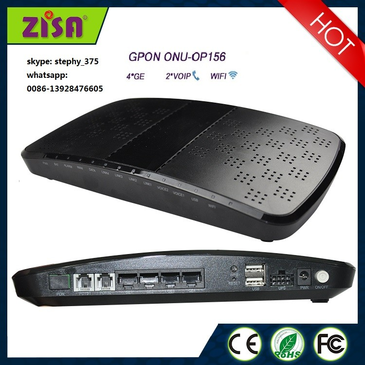ZISA OP156 Compatible with huawei/zhone OLT voip wifi GPON ont onu,GPON modem