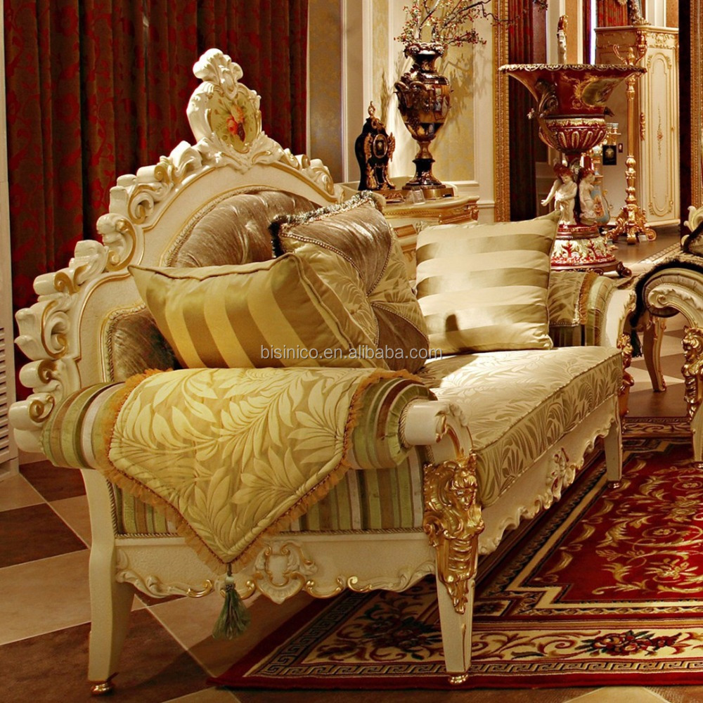 Wooden Sofa Sets For Living Room Luxury French Rococo Wood Carved Hand Painted Living Room Sofa Set