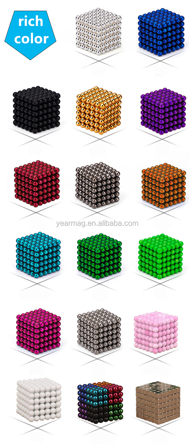 Colorful 216 pcs strong magnetic beads fluorescent luminous cube puzzle toys