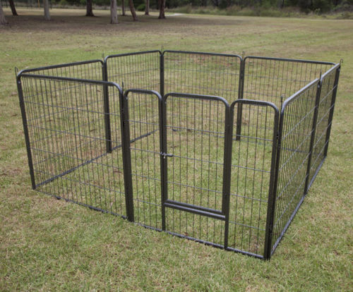 Pet dog playpen puppy exercise fence 8 panel enclosure for Dog run cage enclosure
