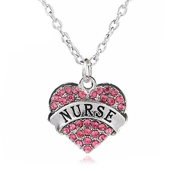 Fashion Women Lady Rhinestone Crystal Heart Engraved Profession Nurse Pendant Necklace Christmas Gifts