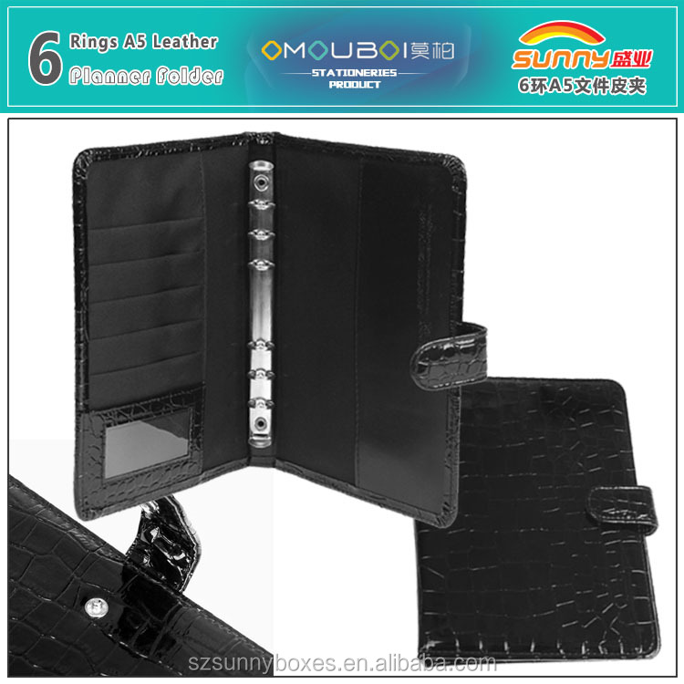 A5 Leather Planner With 6 Ring Binder Mechanism