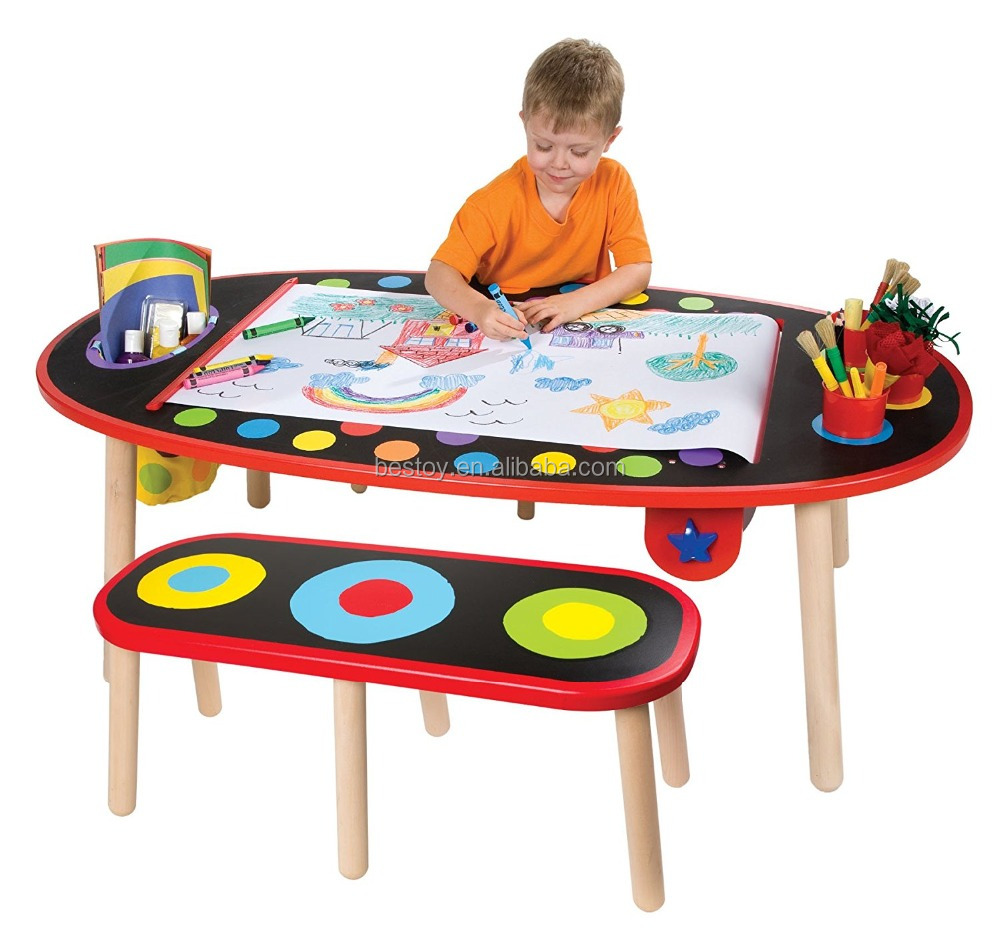 Top Selling Popular Children Furniture Wooden Kids Study Table and Chair Set for Children