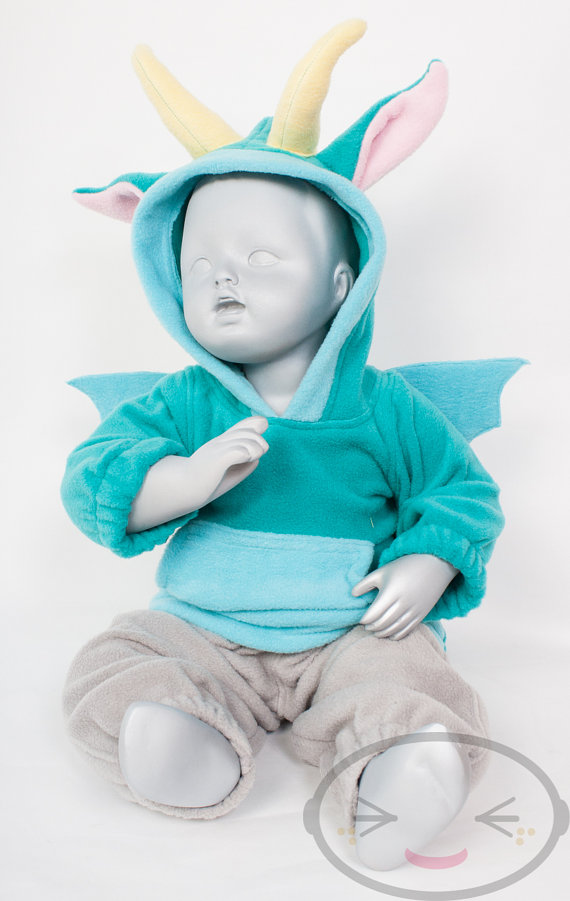 BABY & TODDLER Dragon Hoodie, Costume, Vest, Jacket, Hand-made, Cosplay