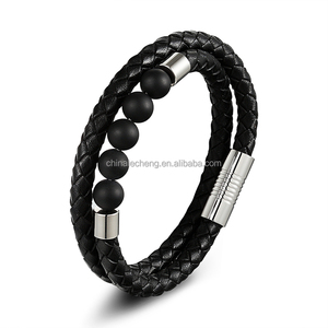 Frosted Beads Genuine Cowhide Leather Cord Bracelets for Men