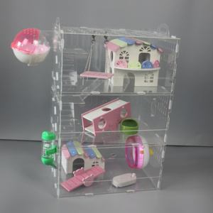 Luxury 3 Tier Acrylic Pet Cage For Hamster With Toys