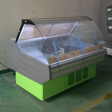 Curved glass Cooked meat serve over counter/ Deli display fridge