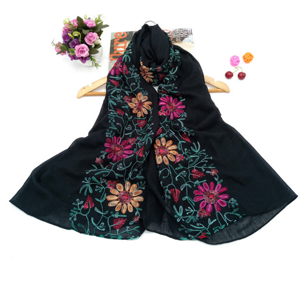 Wholesale Embroidery Muslim Cotton Scarf Hijab
