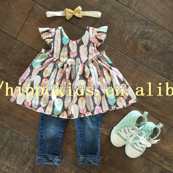 Wholesale Girls Feather Tunic Top Baby Girl Flutter Dress Boutique Cute Baby Cotton Dresses