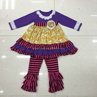 2015 ready to ship wholesale bulk mustard pie remake baby girls fall boutique outfits for western style back to school girls set