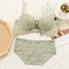 Sweet without insert piece underwear set and cotton undergarment without underwire and detachable strapless underwear