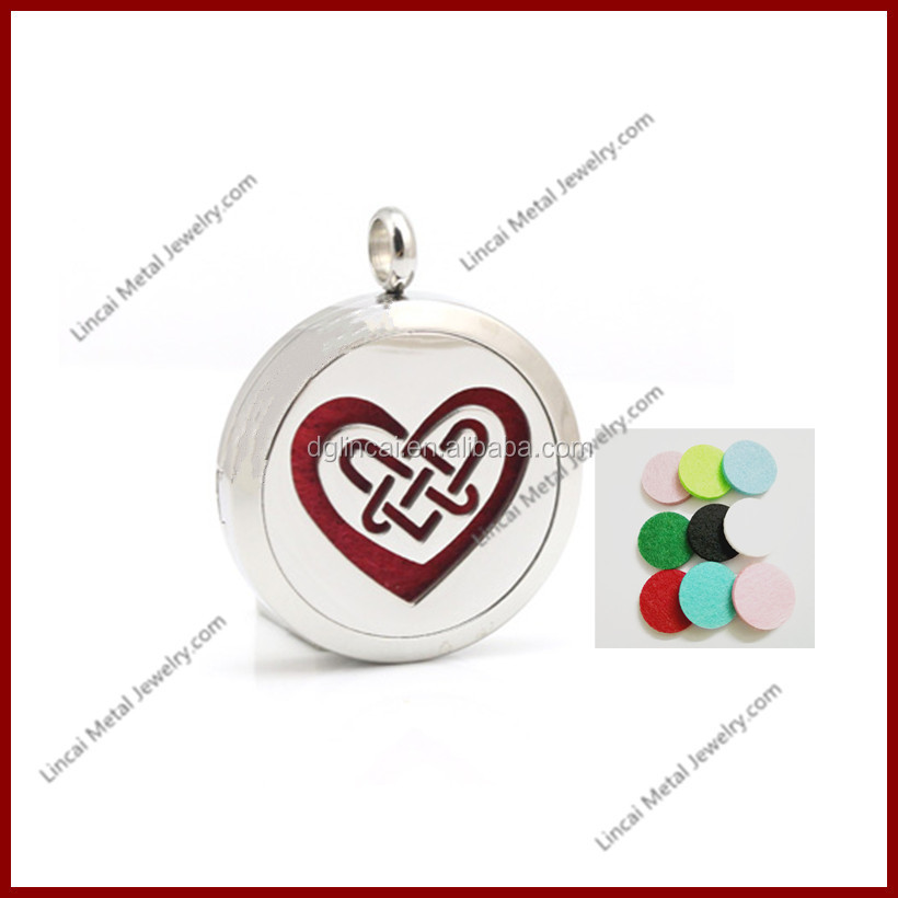 Newest style heart pattern magnetic round aromatherapy locket pendant