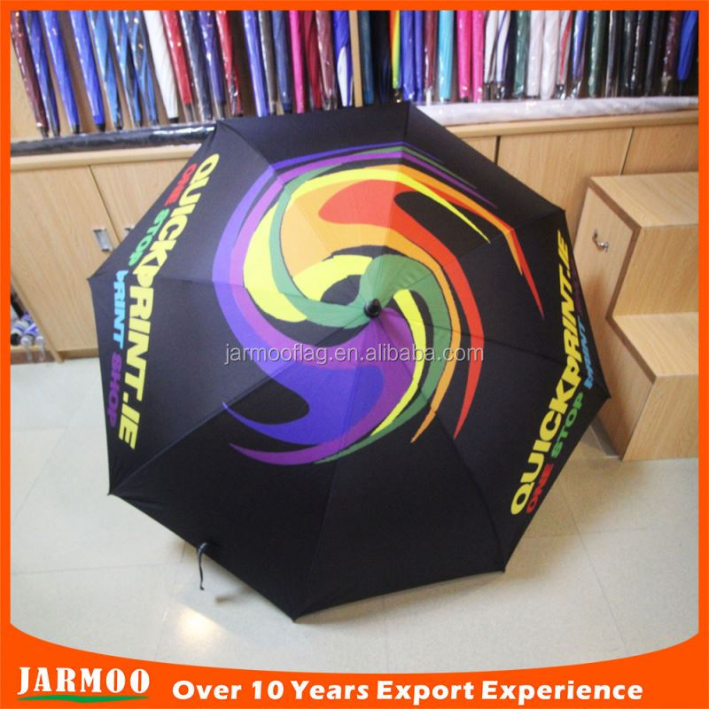 fiberglass shaft double long handle golf umbrella plastic handle umbrella