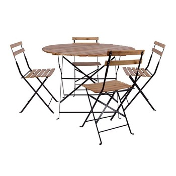 Outdoor Garden 5-Piece Metal Wood Folding Bistro Round Table Set