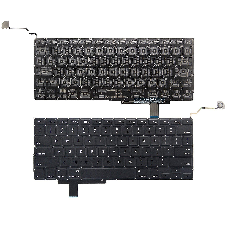 "SEENIGHT® Laptop US Layout Keyboard Black fits MacBook Pro 17"" Unibody A1297"