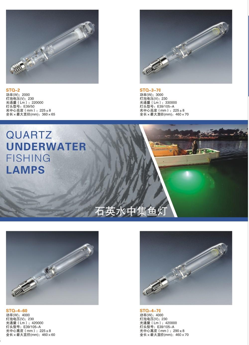 Quartz Glass 2000w Under Water Fishing Metal Hailde Lamps