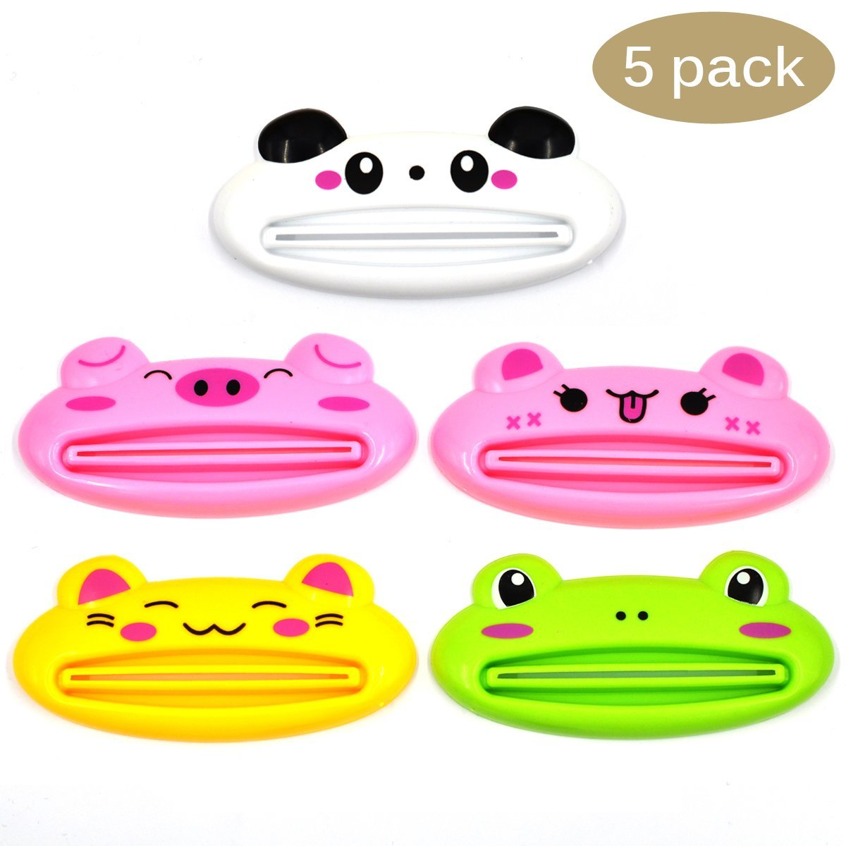eZAKKA 5Pcs Tube Squeezer Toothpaste Dispenser, Cartoon Animal Plastic Frog Cat Panda Pig Bear Shaped