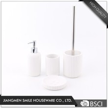 Hot sale bathroom set white ceramic 4 pieces toilet brush holder set