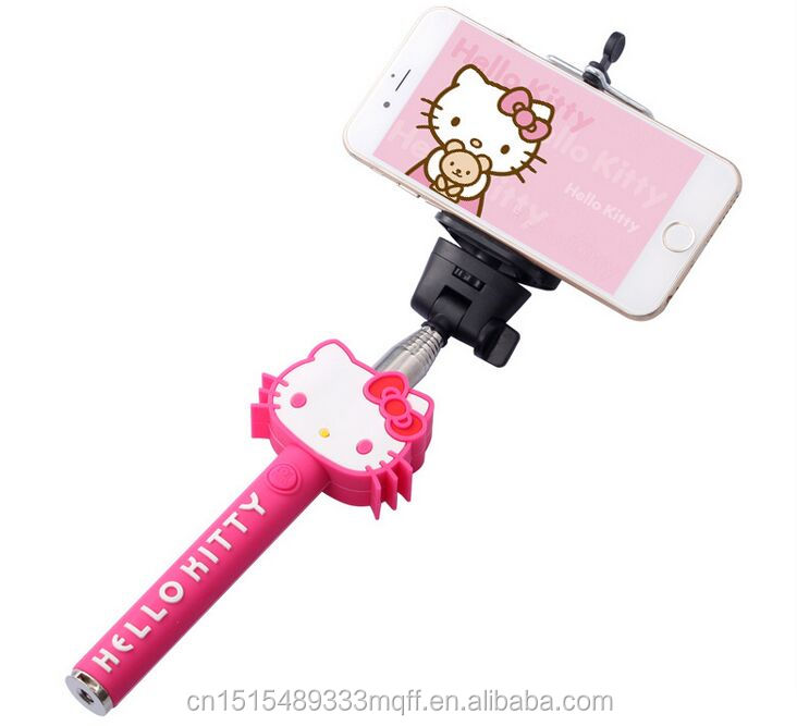 Custom Cable Wired Selfie Handheld Stick Monopod ,Cartoon Wired Selfie Stick