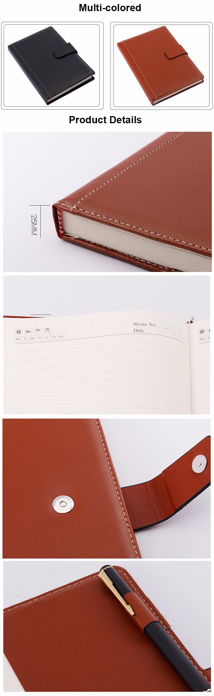 PU leather cover embossed logo printing custom cheap business spiral notebook with pen printing