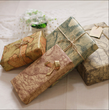 hot sale 80g printed map design kraft paper for gift wrapping