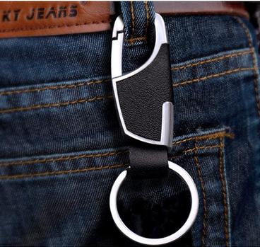 Wholesale Creative Premium Men's Genuine Leather Keychain Promotional Gifts Custom LOGO