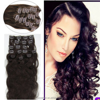 7pcs/set Full Head Natural Black 1B Body Wave 100% Brazilian Virgin Remy Clips In Human Hair Extensions