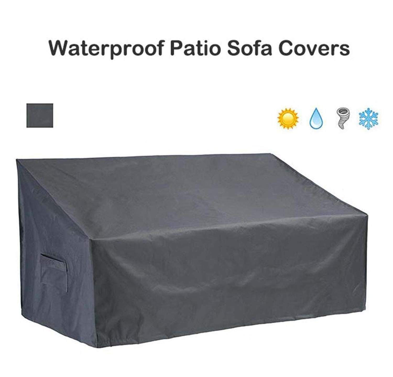 QueenA Premium Deep Seated Patio Sofa Cover, Heavy Duty Outdoor Furniture Cover with Durable and Water Resistant Fabric,Large Grey