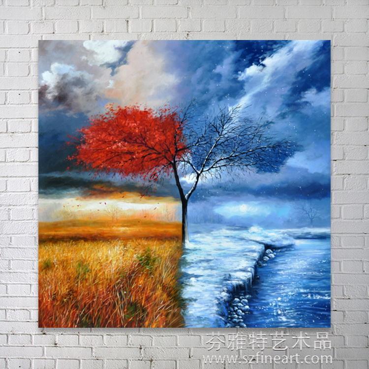 Modern Autumn Winter Natural Landscape Scenery Art Oil Painting On