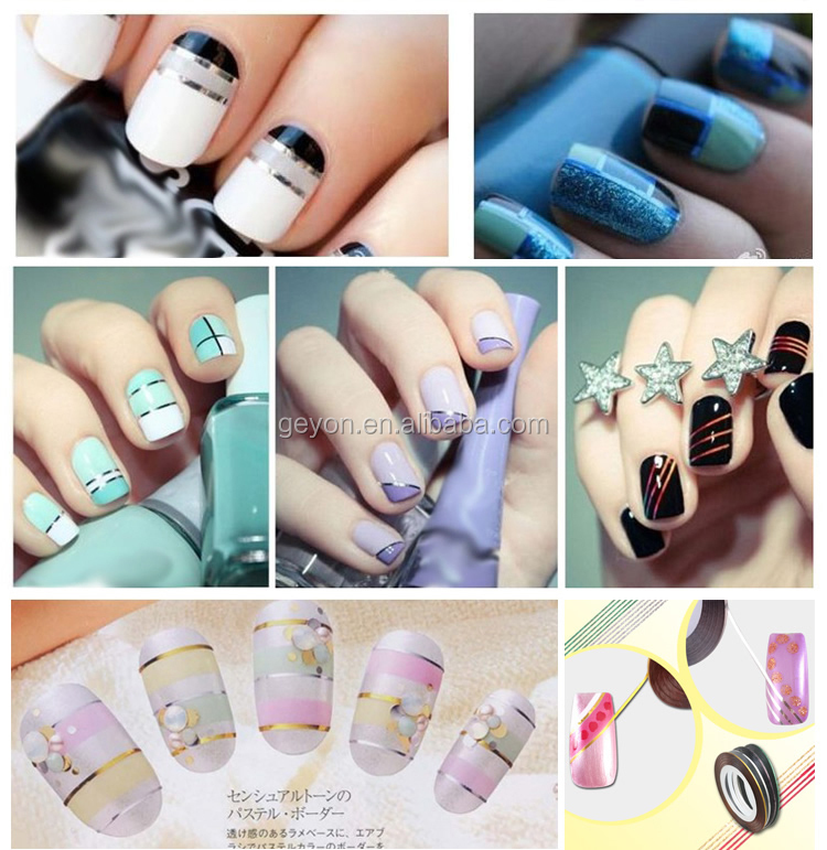 Mixed Color Rolls Glittered Striping Tape Line Diy Nail Art Tips ...