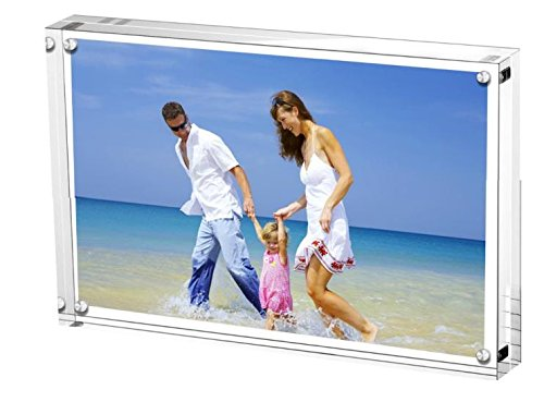 "Clear Acrylic Photo Frame 6x8"" Gift Box Package, 20% Thicker Double Sided Magnetic Blocks Picture Frames, Frameless Desktop Card Display (24mm Thickness,Round)"