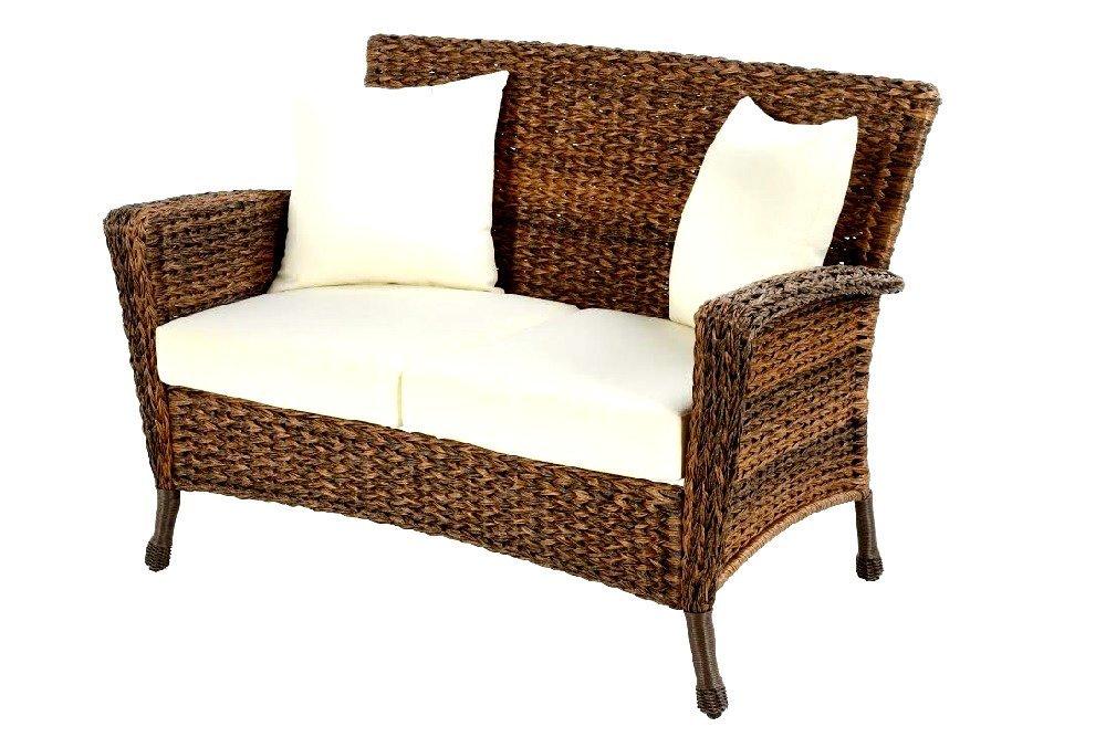 Patio Furniture Loveseat Wicker Rustic Outdoor Light Brown Rattan Lounger Garden Conversation Set- Skroutz Deals