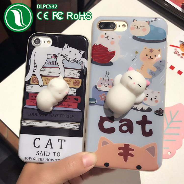new goods cute Cat TPU imd Squishy 3D Phone Cases for iphone 7
