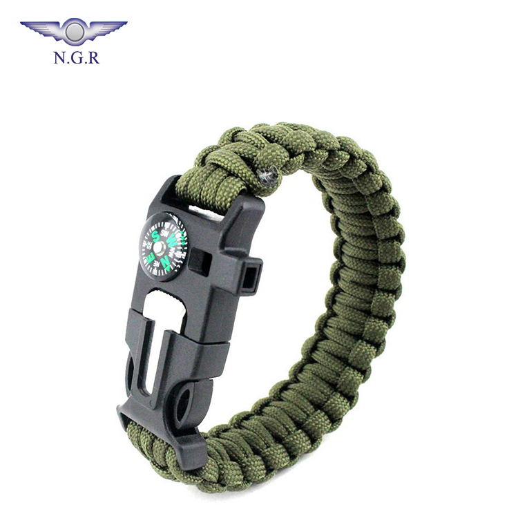 2018 Facotry hot selling 550 paracord bracelet with compass flint fire starter whistle and tactical gear for outdoor survival