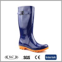 Safety knee high fancy design women canada farm and rain boot with buckle