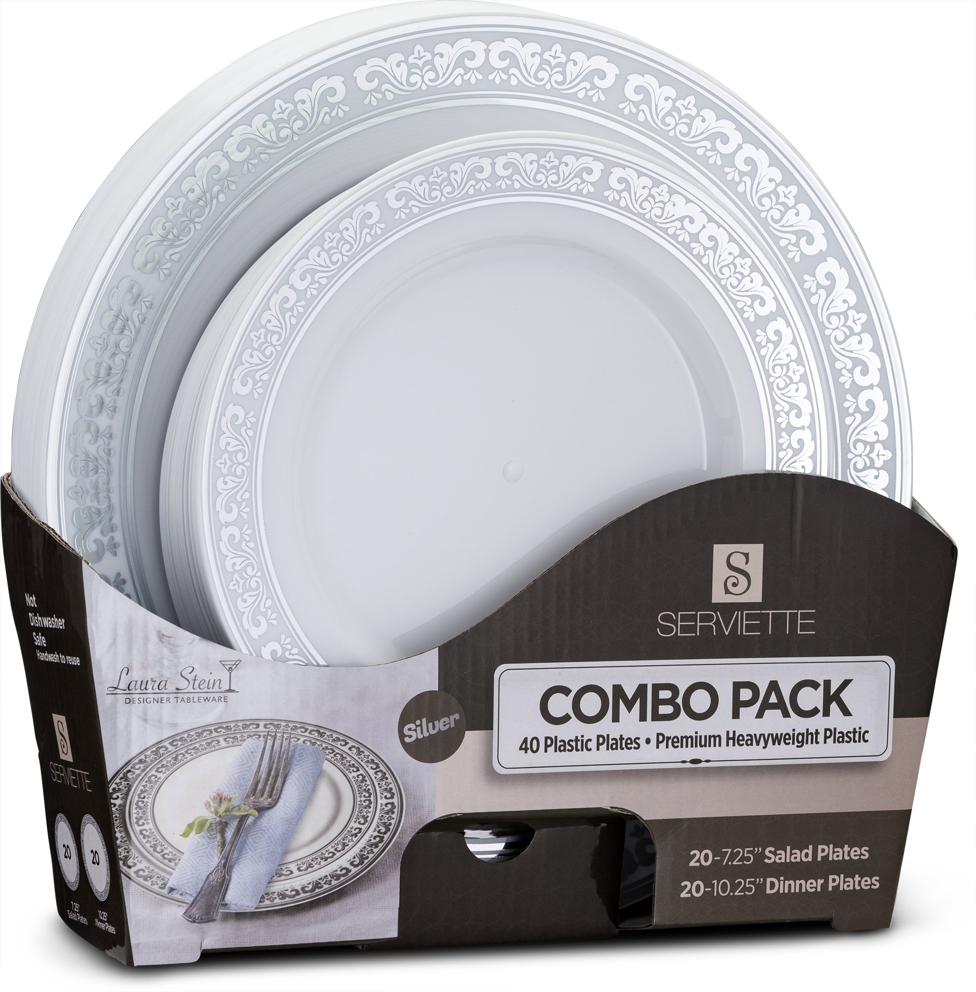 Laura Stein Designer Tableware Set of 40 Party Plates White And Silver Rim Serviette Series Includes 20-7.5'' Salad Plates & 20-10.75'' Dinner Plates Heavy Duty Plastic Disposable Dishes Combo